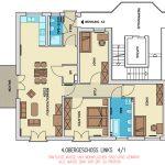 """Grundriss einer Wohnung im Goetheviertel, die Teil des Wohnprojektes """"Nils - Wohnen im Quartier"""" der Bau AG ist."""